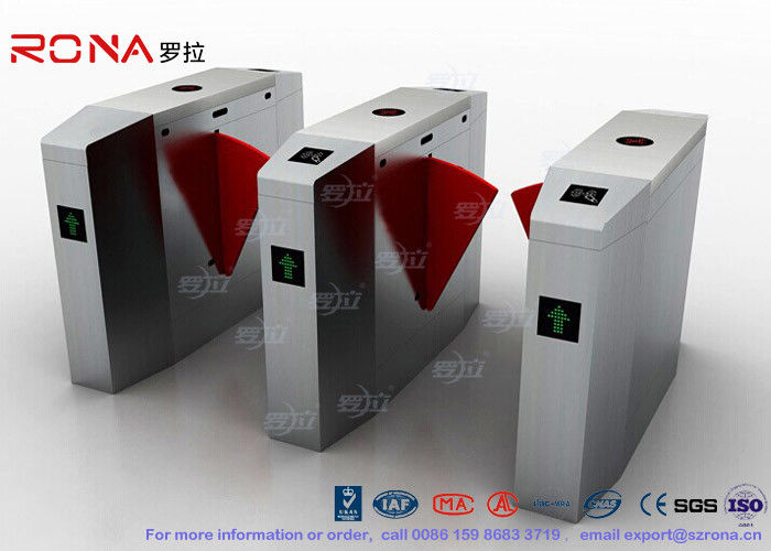 Cold Rolled Steel Luxury Flap Barrier Gate , Pedestrian Access Control Turnstile